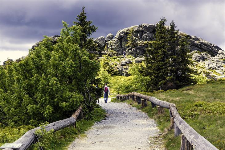 Man Hiking Towards The Mountain On The Hiking Path 1